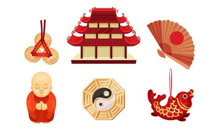 Chinese Culture Attributes and Symbols with Buddha Figure and Multistoried Structure as Buddhist Temple Vector Set