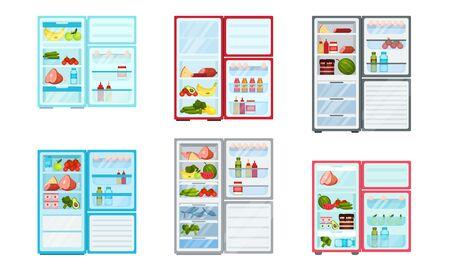 Open Refrigerator with Fresh Food Inside Vector Set Foto de archivo - 140162343