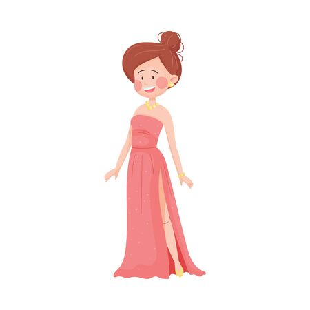 Young Woman Wearing Evening Dress Posing at Red Carpet Event Vector Illustration Ilustração