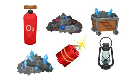Mining Equipment and Tools with Torch and Dynamite Vector Set Ilustração