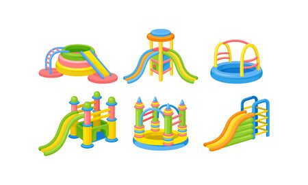 Colorful Playground Slides and Pools for Children Vector Set Illustration