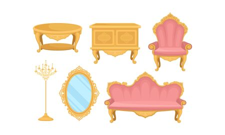 Princess Furnishing Objects for Bedroom or Living Room Set Ilustracja