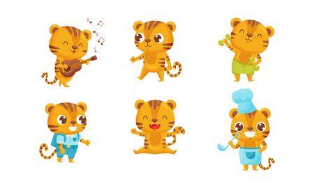 Cartoon Tiger Cub Playing Guitar and Doing Physical Exercise Set