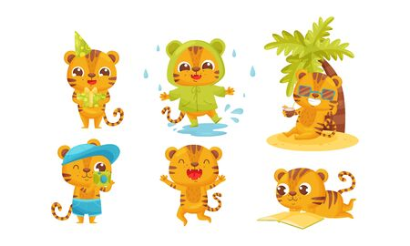 Cartoon Tiger Cub Walking in Rainy Day and Sitting Under Palm Tree Drinking Cocktail Vector Set. Striped Animal Jumping with Joy and Reading Book