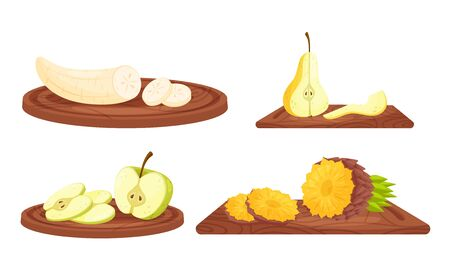 Ripe Juicy Sliced Fruits on Wooden Cutting Board