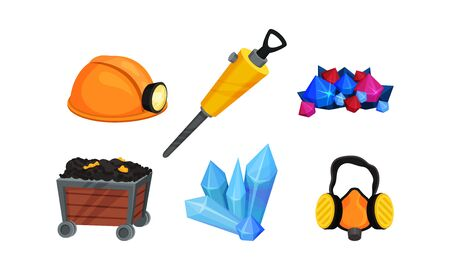 Mining Equipment and Tools with Helmet and Protective Mask Set