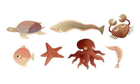 Cute Sea Creatures with Protuberant Eyes Set Ilustrace