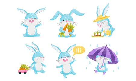 Cute Rabbit with Blue Coat Watering Carrot and Greeting Set
