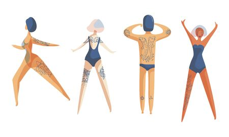 People Wearing Swimsuits Standing in Different Poses Toward the Sun and Sunbathing Set