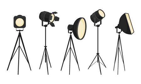 Illumination Tools and Studio Lamps for Studio Shooting Set Иллюстрация