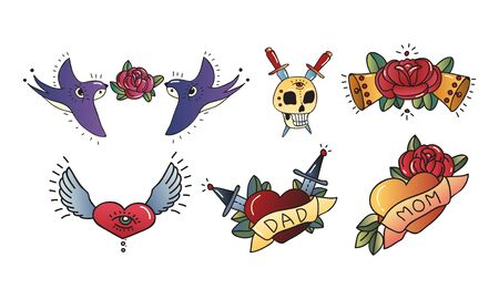 Old School Tattoo Elements and Symbols with Skull and Rose Flower Set