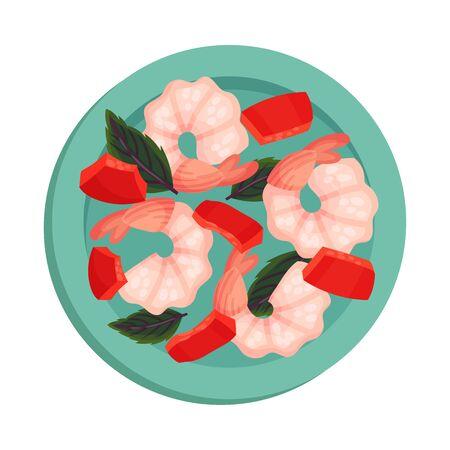 Shrimps Rested on Plate with Leaf Garnish Top View Vector Illustration. Appetizing Seafood Dish Serving for Restaurant Menu Ilustrace