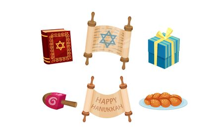 Happy Hanukkah Symbols Vector Set. Jewish Traditional Celebration Attributes Çizim