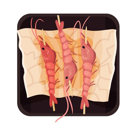 Skewered Prawns Rested on Plate Top View Vector Illustration. Appetizing Seafood Dish Serving for Restaurant Menu