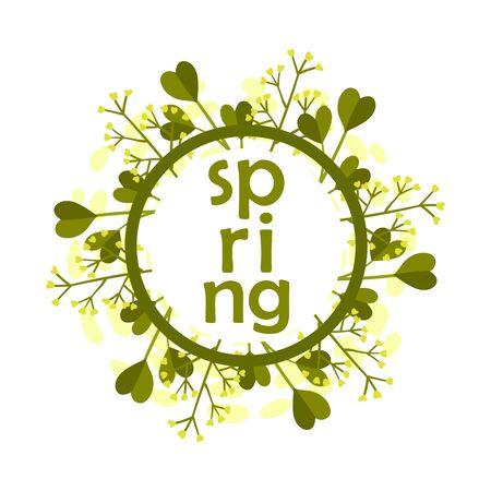 Framed Spring Botanical Composition with Green Bouquet Vector Illustration. Circular Decorative Element Concept Vektorgrafik
