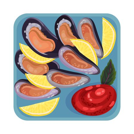 Oysters Rested on Plate with Lemon Garnish and Tomato Sauce Top View Vector Illustration. Appetizing Seafood Dish Serving for Restaurant Menu