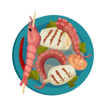 Skewered Prawn and Stuffed Squid Rested on Plate with Leaf Garnish Top View Vector Illustration. Appetizing Seafood Dish Serving for Restaurant Menu