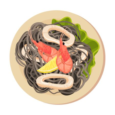 Pasta with Sliced Squid and Shrimps Top View Vector Illustration. Appetizing Seafood Dish Serving for Restaurant Menu