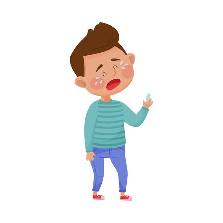 Little Boy Standing with Bandaged Finger and Crying Because of Pain Vector Illustration