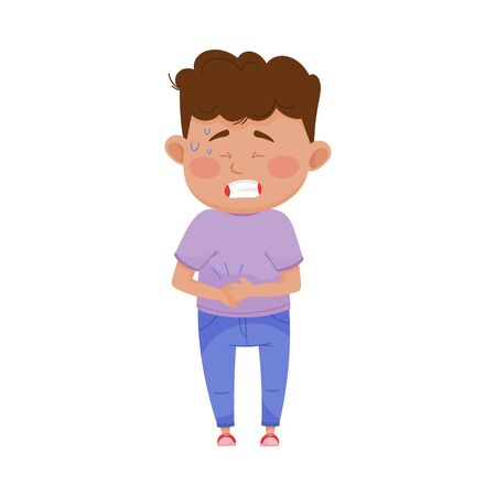 Little Boy Standing with His Hands on His Stomach Because of Pain Vector Illustration  イラスト・ベクター素材