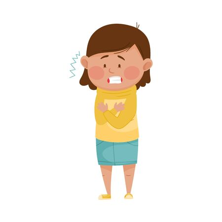 Little Girl Standing and Shivering Because of Cold Fit Vector Illustration