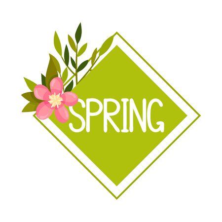 Spring Botanical Framed Composition with Green Twig and Pink Flower Vector Illustration