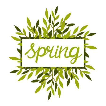 Framed Spring Botanical Composition with Green Bouquet Vector Illustration