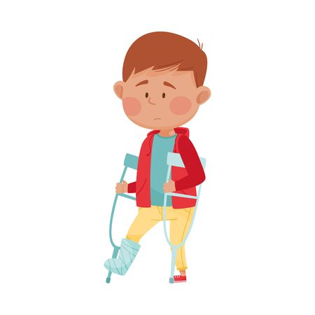 Little Boy Standing on Crutches with Bandaged Leg Vector Illustration. Kid Suffering from Pain in Broken Leg and Feeling Unwell Concept Illustration