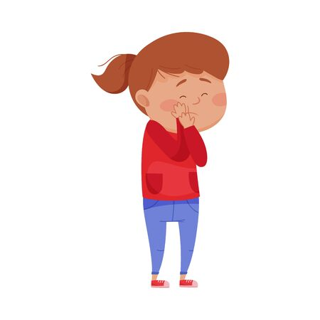 Little Girl Standing with Her Hands on Her Cheek Because of Pain Vector Illustration. Kid Suffering from Toothache and Feeling Unwell Concept Banco de Imagens - 140184625