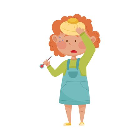 Little Girl Standing and Holding Ice Cap on Her Forehead Because of High Temperature Vector Illustration