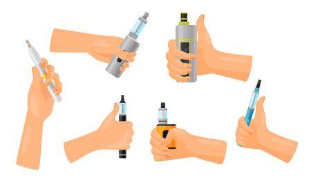 Hands Holding Vape Vector Set. Electronic Cigarette Advertisement