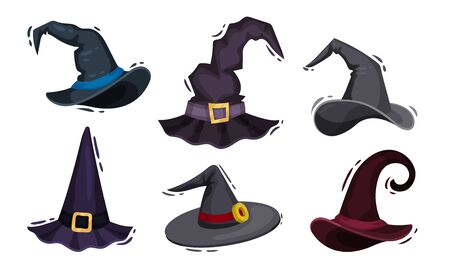 Wizard and Magician Hats with Pointed Top Vector Set Ilustracja