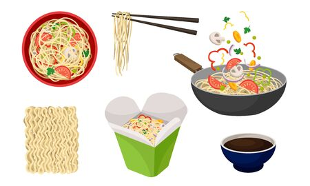 Asian Wok Udon Noodles in Paper Box and in Frying Pan with Sliced Vegetable Ingredients Floating Above Side View Vector Set