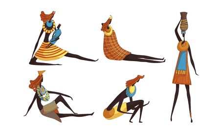 African Woman Wearing Tribal Clothing Carrying Heavy Pottery Vessel on Her Head and Sitting Vector Set. Indigenous Cultural Tradition Concept