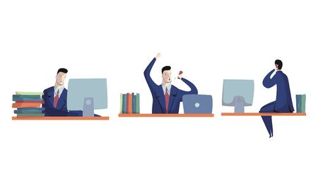 Young Man Wearing Formal Suit Sitting in Front of Laptop and Talking by Phone Vector Set. Office Workspace and Working Process Concept