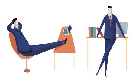 Businessman Sitting with His Legs on Desk Thinking and Standing with Puzzled Expression on His Face Vector Illustrations Set. Office Workspace and Working Process Concept