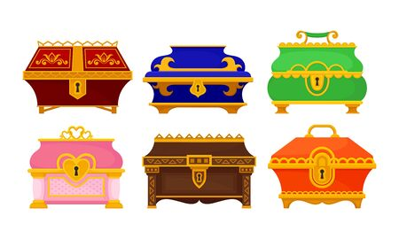 Different Treasure Chests and Trunks with Golden Keyhole Vector Set