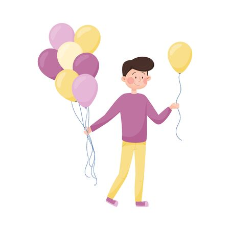 Young Boy Walking Along the Street and Handing Around Balloons Vector Illustration