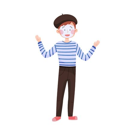 Man Wearing Striped Sweater Performing Mime Show Vector Illustration
