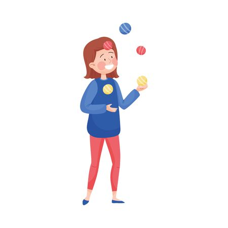 Young Woman Wearing Circus Wear Juggling with Balls Vector Illustration