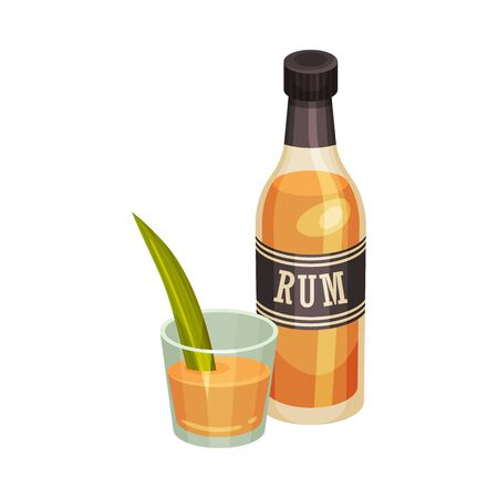 Bottle of Sugar Cane Rum with Glass Vector Illustration 矢量图像