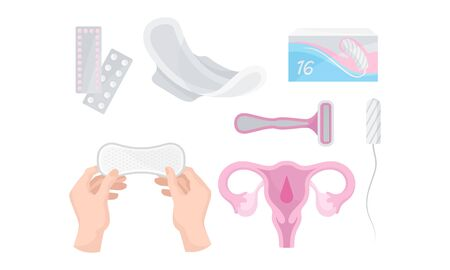 Intimate Woman Hygiene with Sanitary Towels and Tampons Vector Set