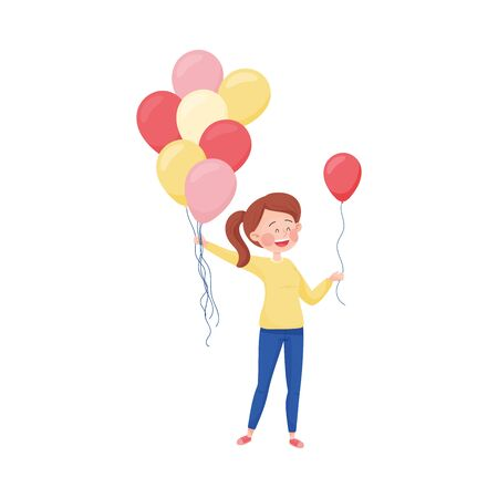 Young Girl Walking Along the Street and Handing Around Balloons Vector Illustration