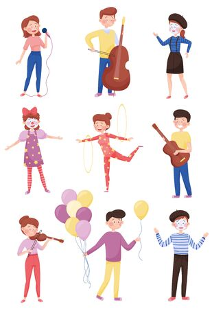 Street Performers Giving Entertainment Vector Illustrations Set. Street Musicians Playing Musical Instruments