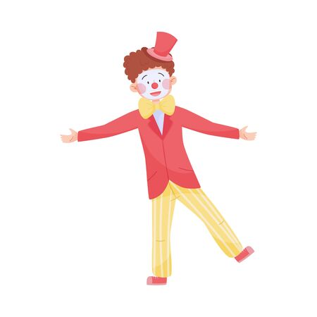 Man Wearing Clown Costume Performing Amusement Show Vector Illustration