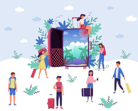 Tourists with Luggage Setting Off on Journey Vector Illustration. Holiday Adventure and Spending Time During Vacation Concept