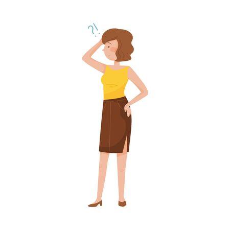 Jeune femme debout avec une expression réfléchie sur son visage et une illustration vectorielle de point d'interrogation. Femme se grattant la tête avec un regard lointain