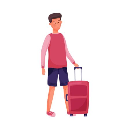 Traveling Dark-haired Young Man Standing Near Suitcase and Waiting Vector Illustration. Setting Off for Holiday Voyage or Journey Concept