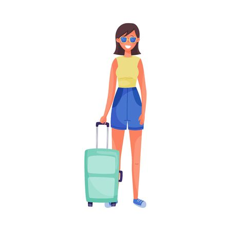 Traveling Smiling Woman Wearing Glasses and Holding Suitcase Vector Illustration. Setting Off for Holiday Voyage or Journey Concept