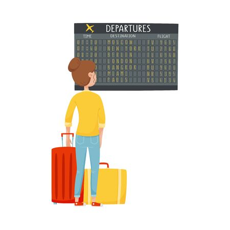 Woman Standing in Front of Display Board in the Airport Looking for Her Flight Vector Illustration